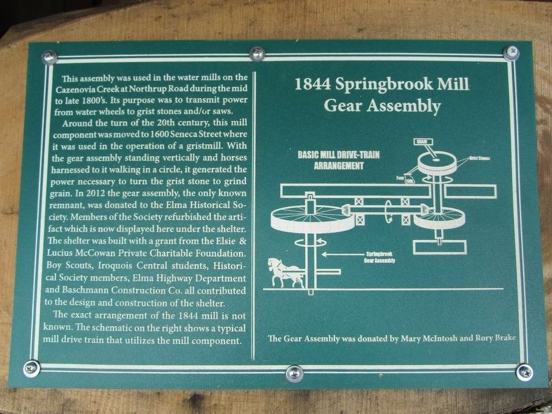 1844 Springbrook Mill Gear Assembly Marker image. Click for full size.