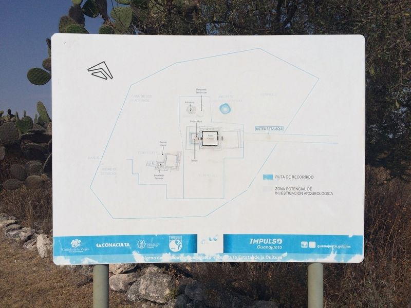 Nearby the marker is this site map of Cañada de la Virgen. image. Click for full size.