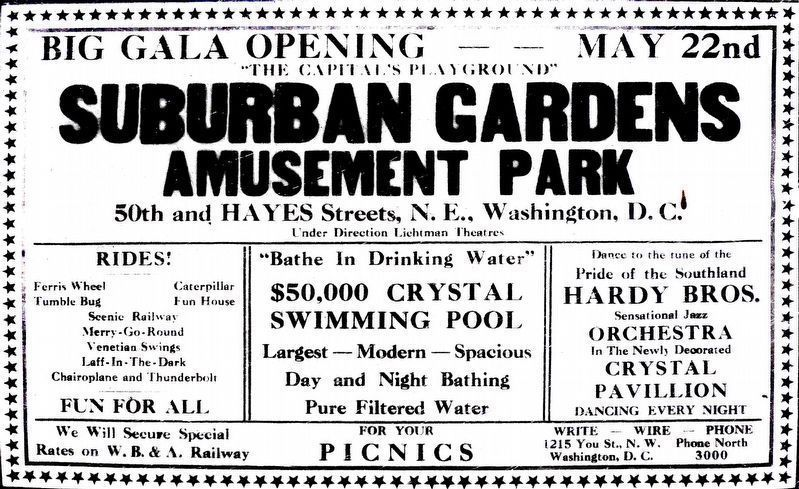 "Suburban Gardens Amusement Park<br>Big Gala Opening May 22nd<br>""The Capital&#39;s Playground"" image. Click for full size."