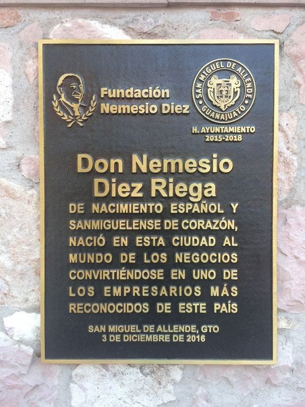 The additional Nemesio Diez Riega marker dedicated on December 3, 2016. image. Click for full size.