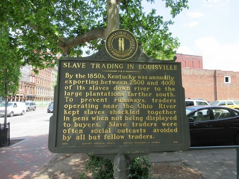 Slave Trading In Louisville Marker image. Click for full size.