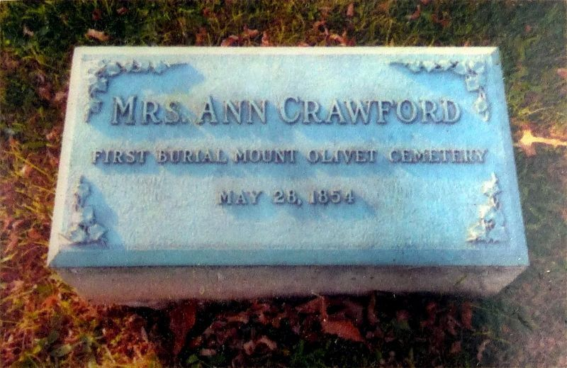 First Interment: Mrs. Ann Crawford image. Click for full size.