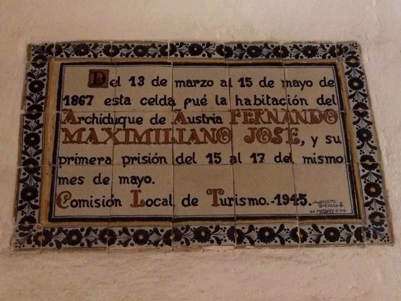 An additional marker outside Maximiliano's room inside the convent image. Click for full size.