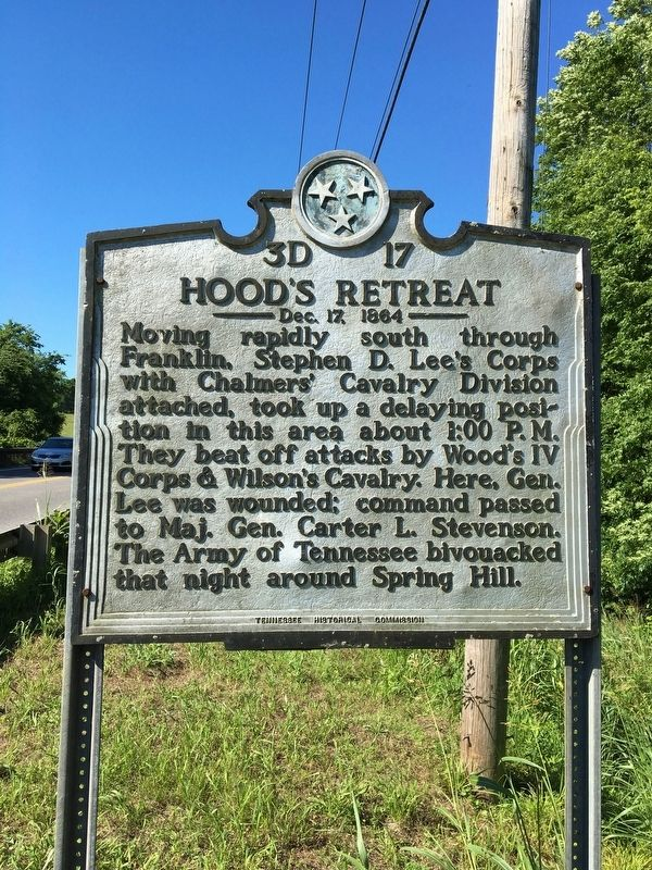 Hood's Retreat - December, 17 1864 - Marker image. Click for full size.