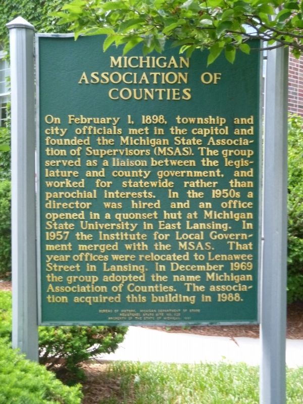 Michigan Association of Counties Marker image. Click for full size.