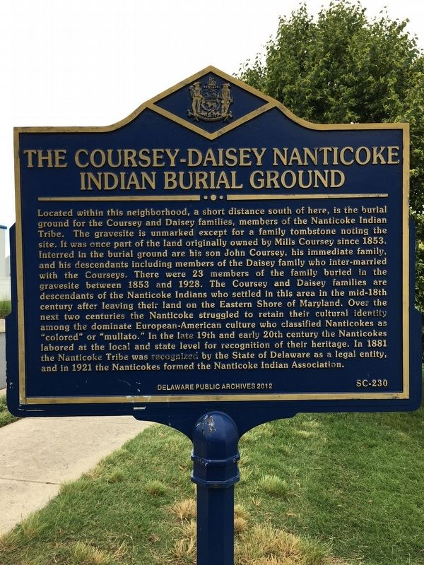 The Coursey-Daisey Nanticoke Indian Burial Ground Marker image. Click for full size.