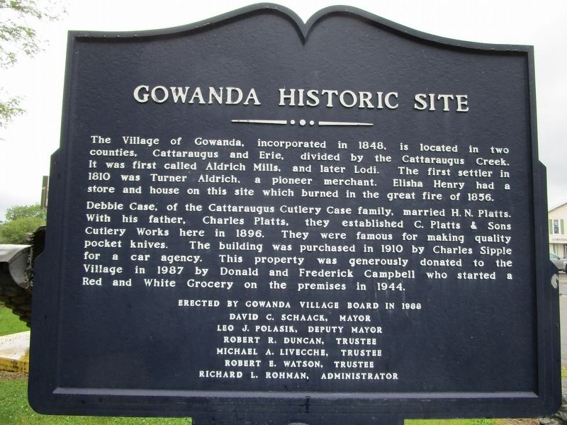 Gowanda Historic Site Marker image. Click for full size.