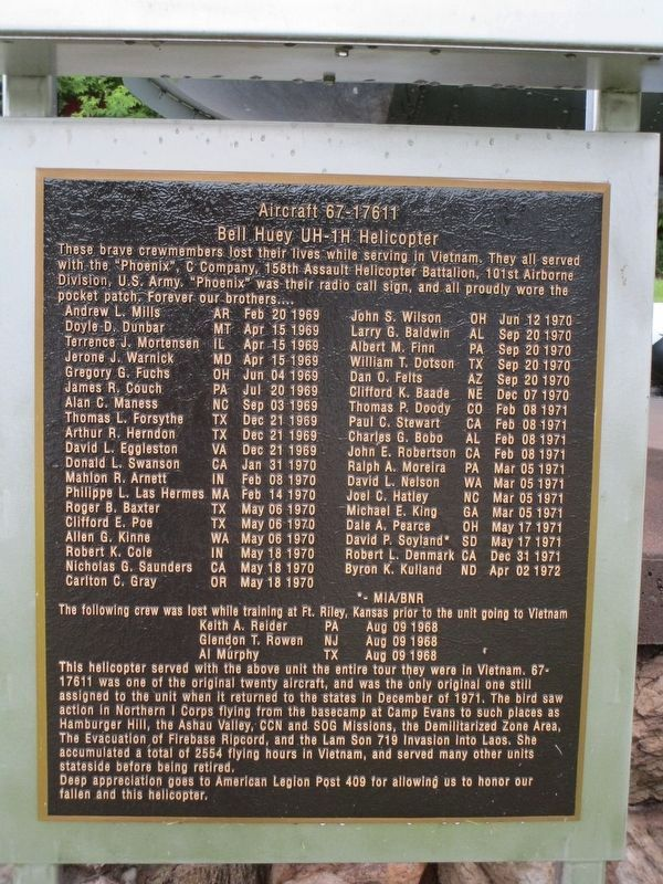 Bell Huey UH-1H Helicopter Memorial image. Click for full size.