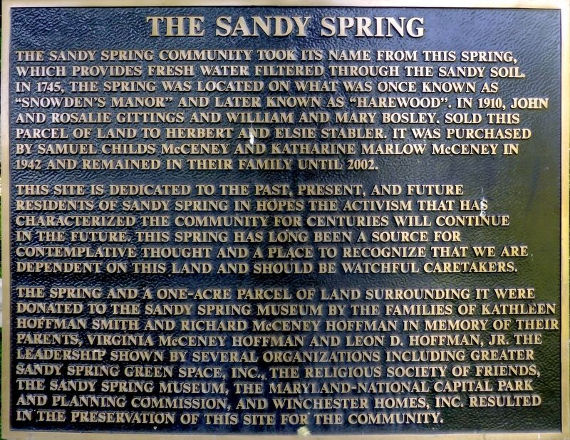 The Sandy Spring Marker image. Click for full size.