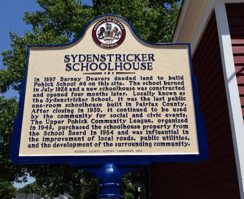 Sydenstricker Schoolhouse Marker image. Click for full size.