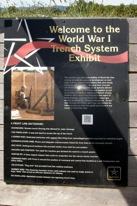 Welcome to the World War I Trench System Exhibit Marker image. Click for full size.