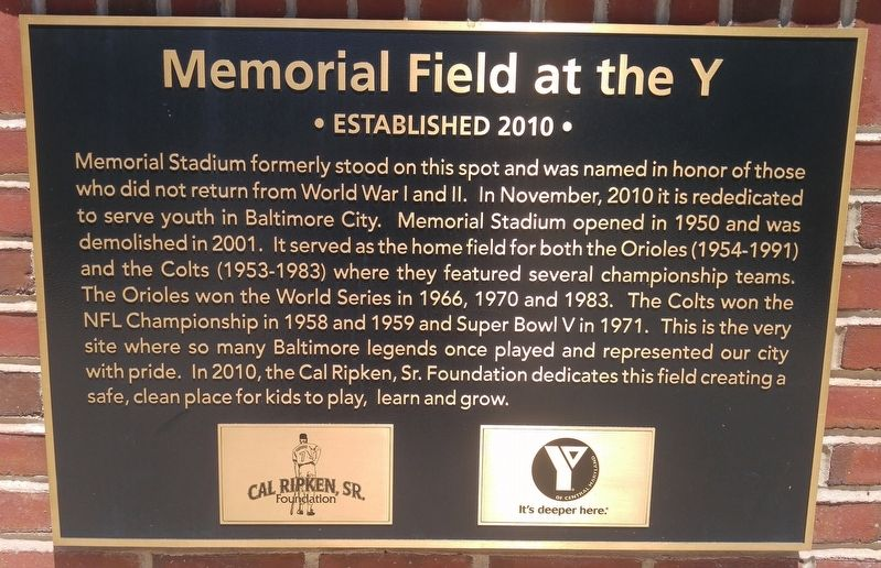 Memorial Field at the Y Marker image. Click for full size.