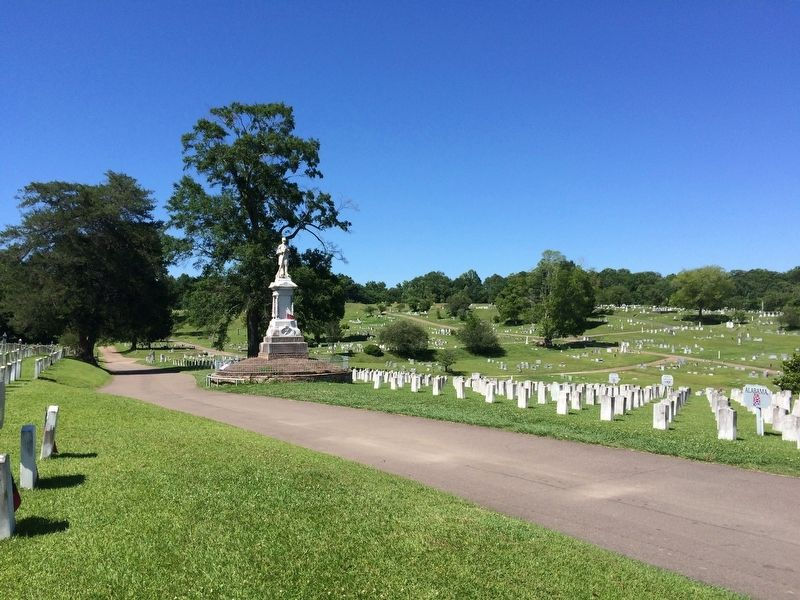Confederate Dead monument and graves. image. Click for full size.