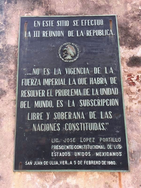 A nearby additional marker on a Mexican government meeting in 1980 image. Click for full size.