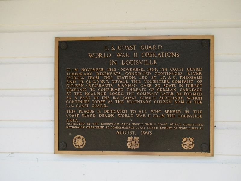 U.S. Coast Guard World War II Operations in Louisville Marker image. Click for full size.