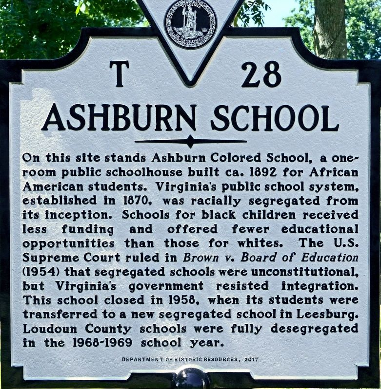 Ashburn School Marker image. Click for full size.