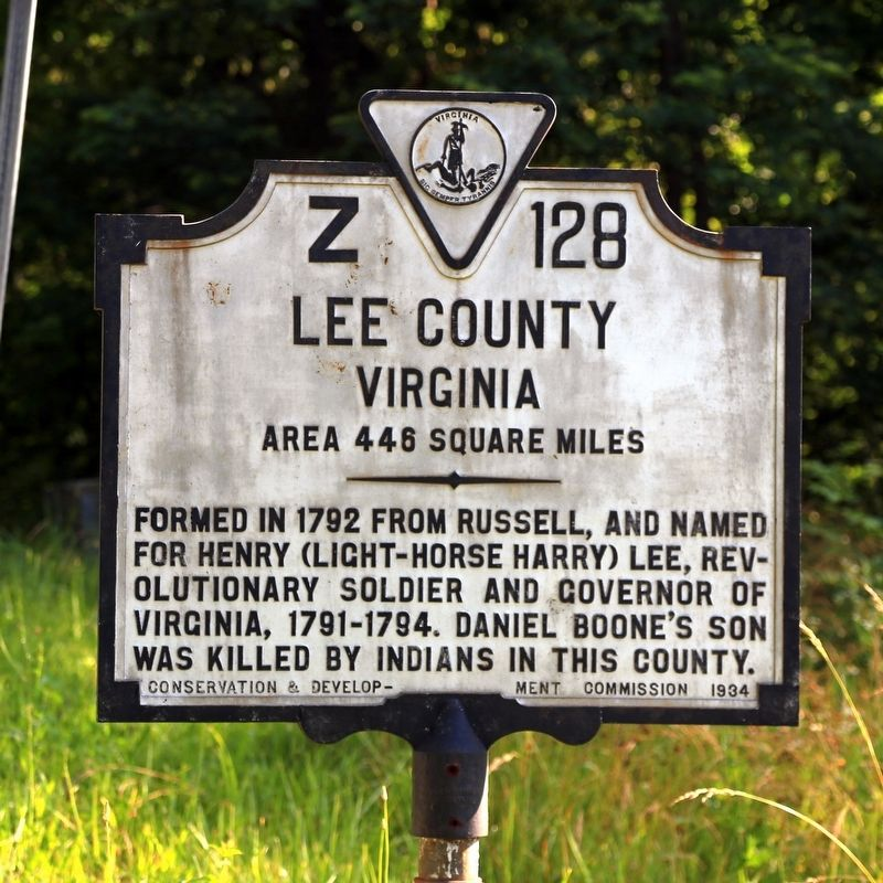 Lee County Virginia face of the marker image. Click for full size.