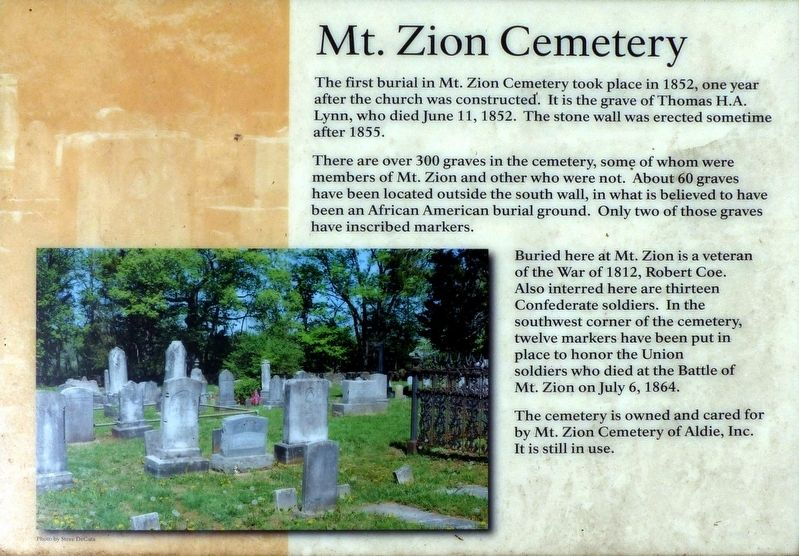 Mt. Zion Cemetery Marker image. Click for full size.