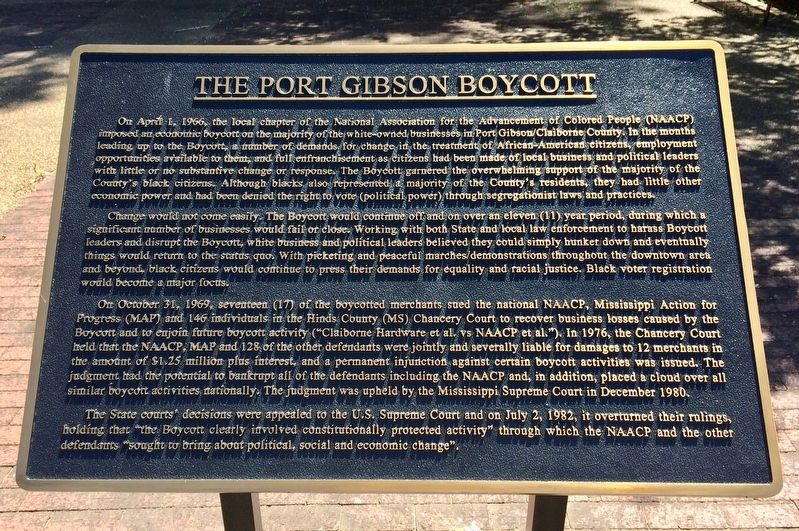 The Port Gibson Boycott Marker image. Click for full size.