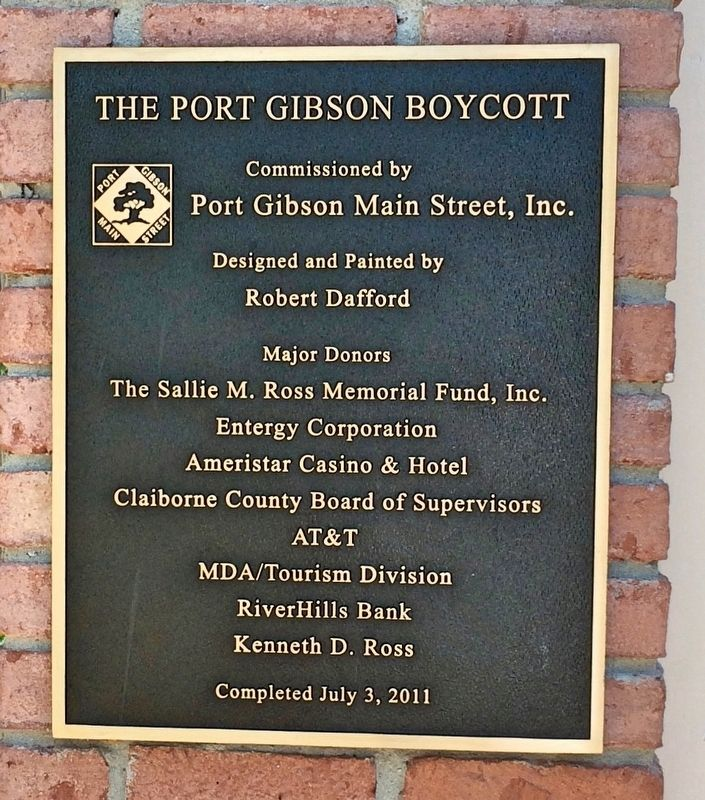 Dedication plaque for Port Gibson Boycott. image. Click for full size.
