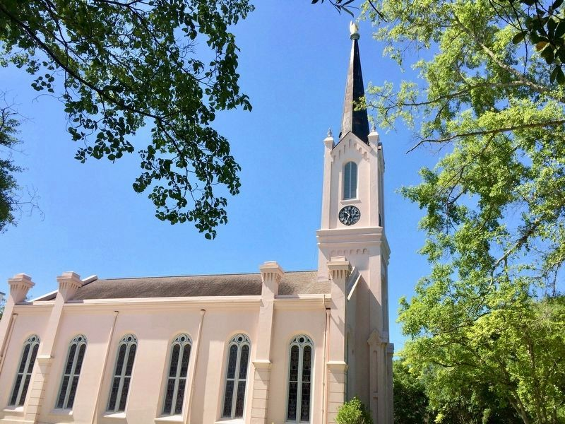 "First Presbyterian Church with ""Hand Pointing to Heaven"" on steeple top. image. Click for full size."