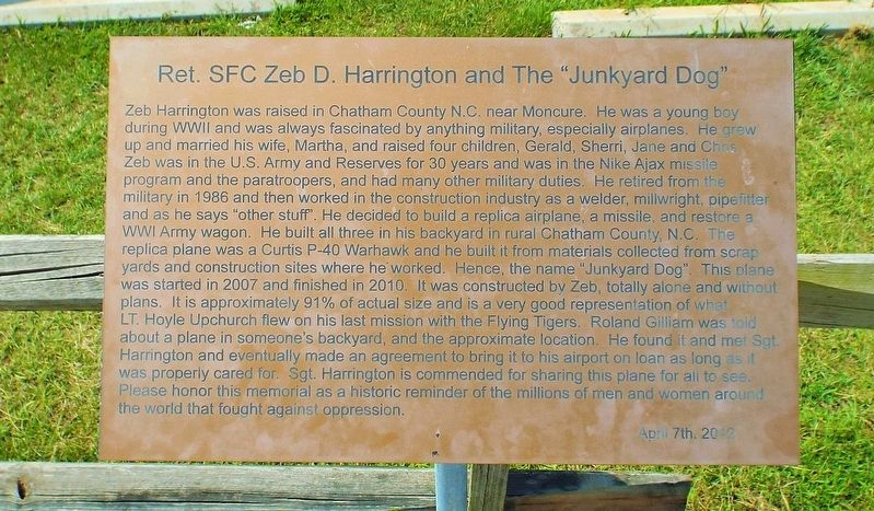 Ret. SFC Zeb D. Harrington and the Marker image. Click for full size.