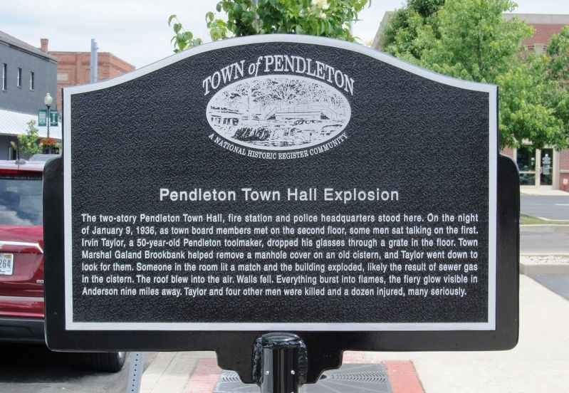 Pendleton Town Hall Explosion Marker image. Click for full size.