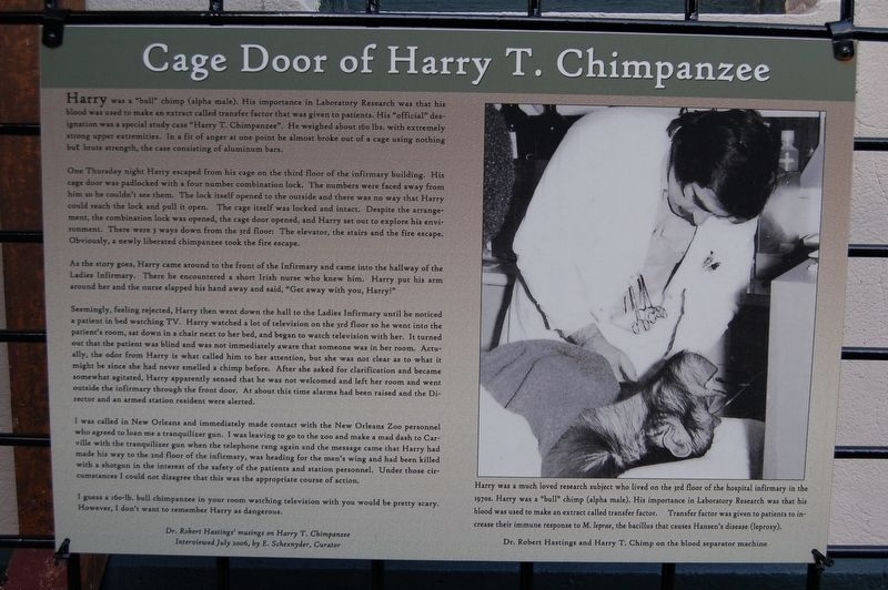 Cage Door of Harry T. Chimpsnzee Marker image. Click for full size.