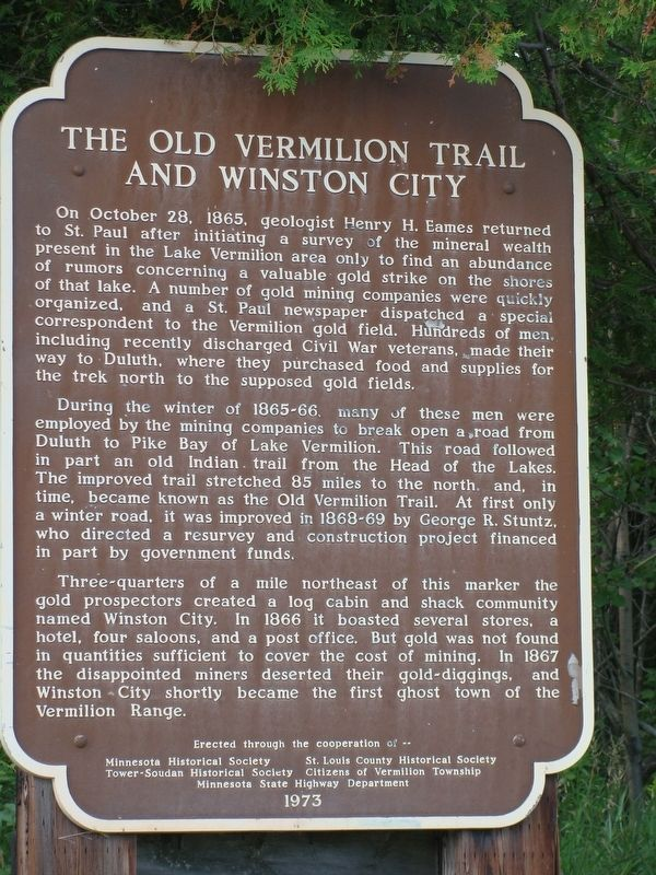The Old Vermilion Trail and Winston City Marker image. Click for full size.