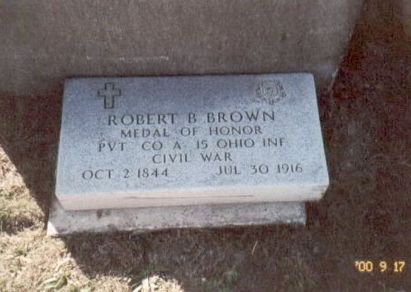 Robert B. Brown Medal of Honor grave marker. image. Click for full size.