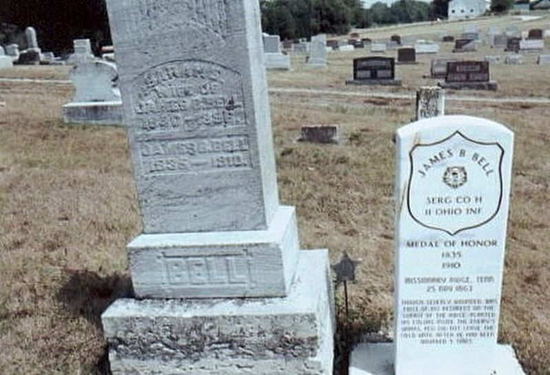 James B. Bell Medal of Honor grave marker image. Click for full size.