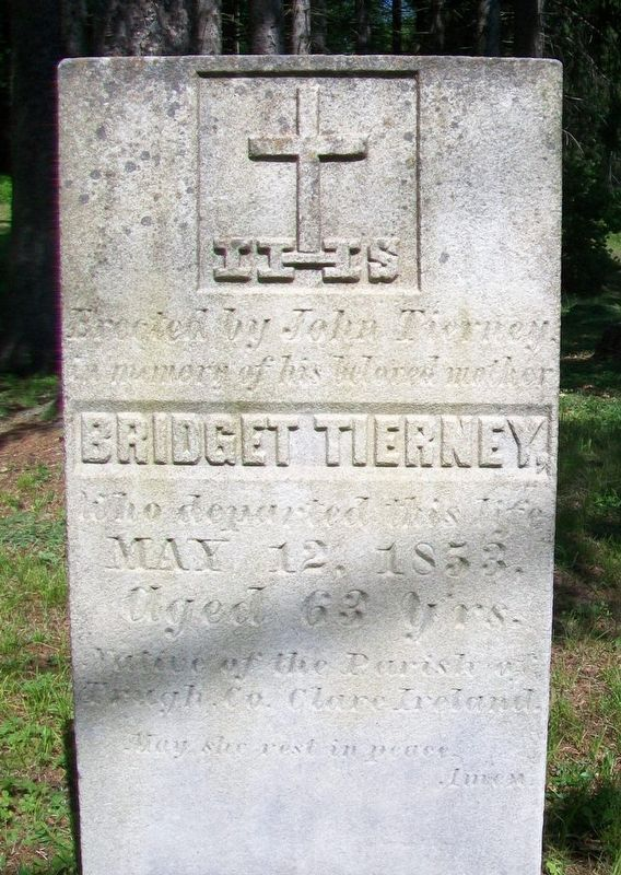 Tierney Gravestone near Site of St. John's Church and Cemetery Marker image. Click for full size.