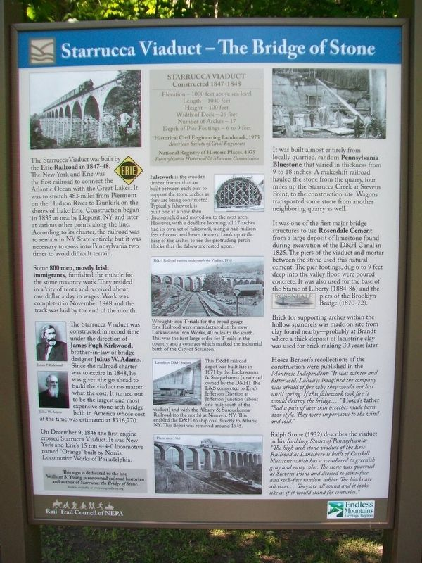 Starrucca Viaduct - The Bridge of Stone Marker Panel 1 image. Click for full size.