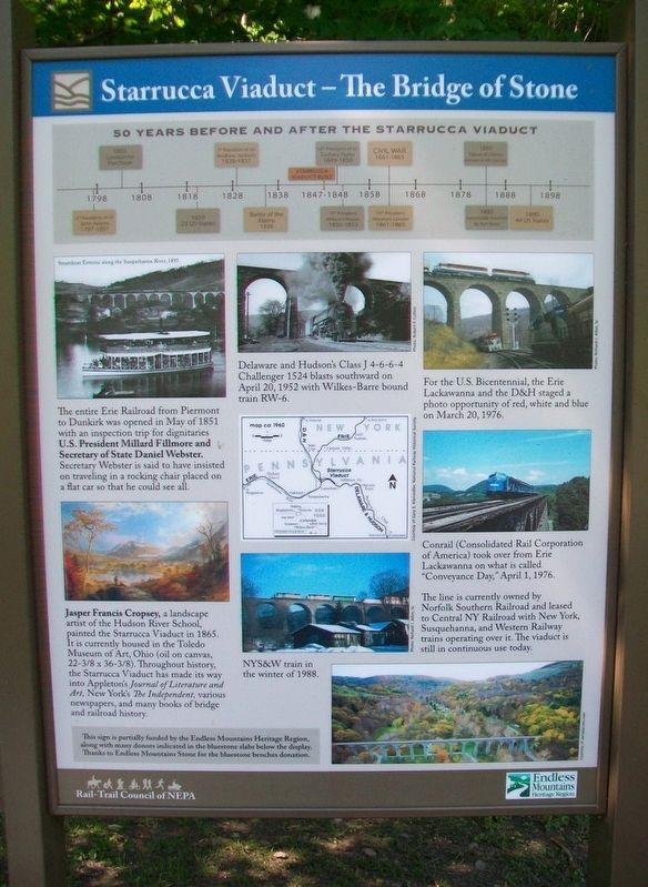 Starrucca Viaduct - The Bridge of Stone Marker Panel 2 image. Click for full size.