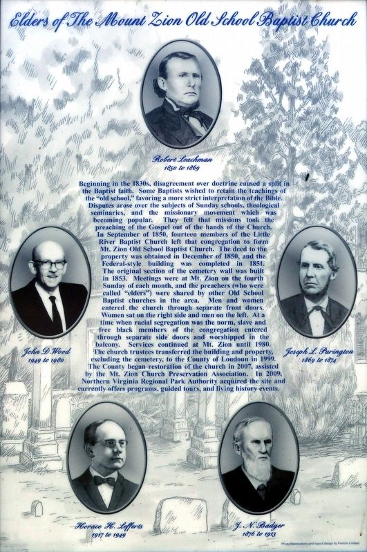 Elders of the Mount Zion Old School Baptist Church Marker image. Click for full size.