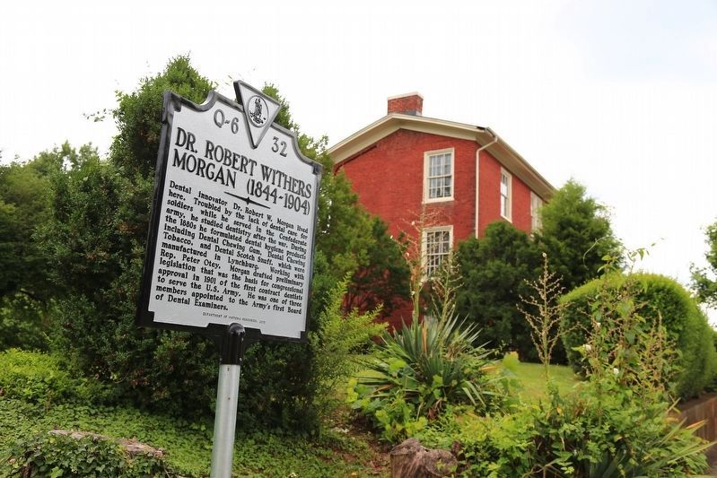 Marker and view of Centerview, Dr. Morgan's Residence from 1876 until his death image. Click for full size.