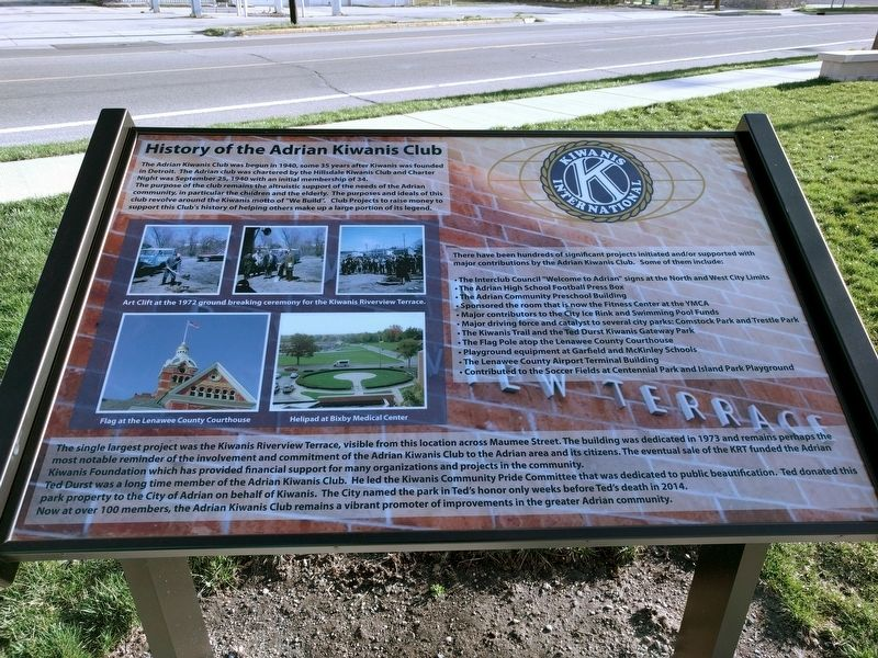 History of the Adrian Kiwanis Club Marker image. Click for full size.