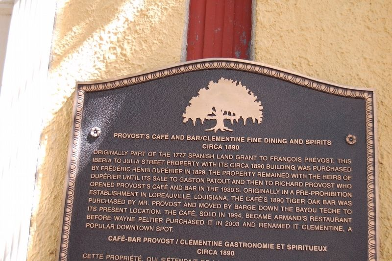 Provost's Café and Bar/Clementine Fine Dining and Spirits Marker image. Click for full size.