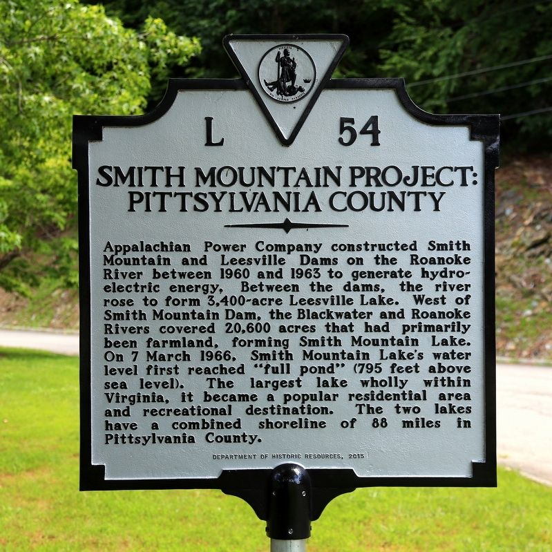 Smith Mountain Project Pittsylvania County Marker image. Click for full size.