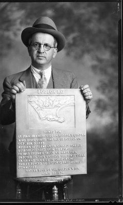 William S. Borba Holding the Bodega Bay Marker image. Click for full size.