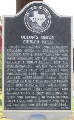Olton's Union Church Bell Marker image. Click for full size.