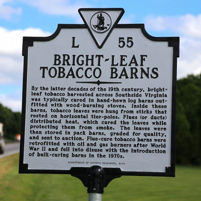 Bright-Leaf Tobacco Barns Marker image. Click for full size.