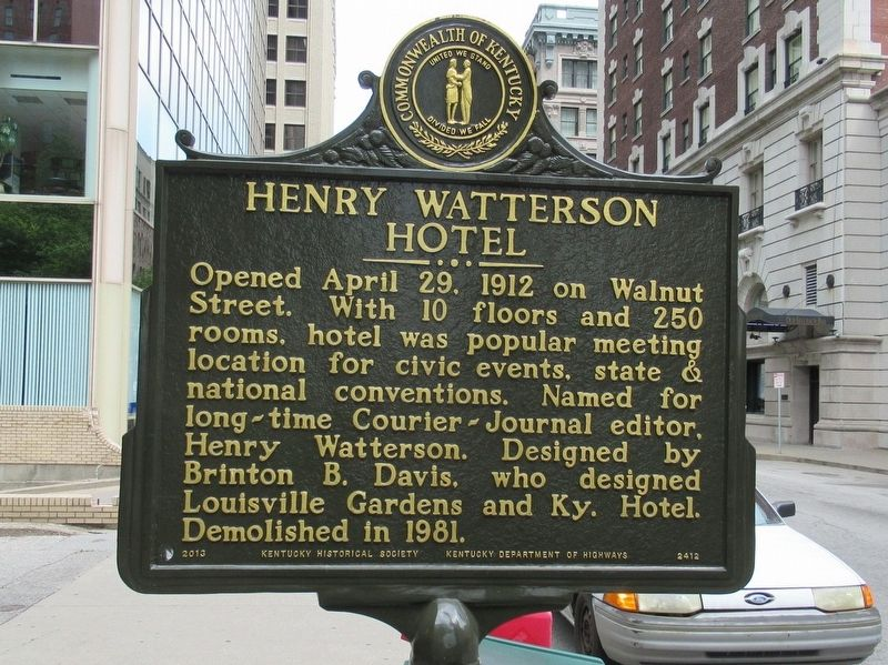 Henry Watterson Hotel Marker image. Click for full size.