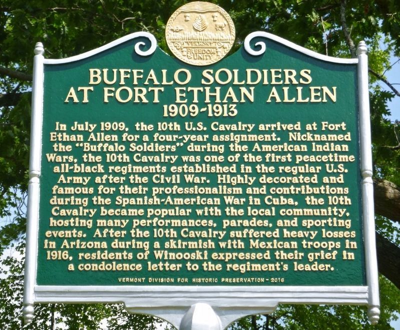 Buffalo Soldiers at Fort Ethan Allen Marker image. Click for full size.