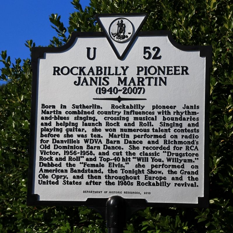 Rockabilly Pioneer Janis Martin Marker image. Click for full size.