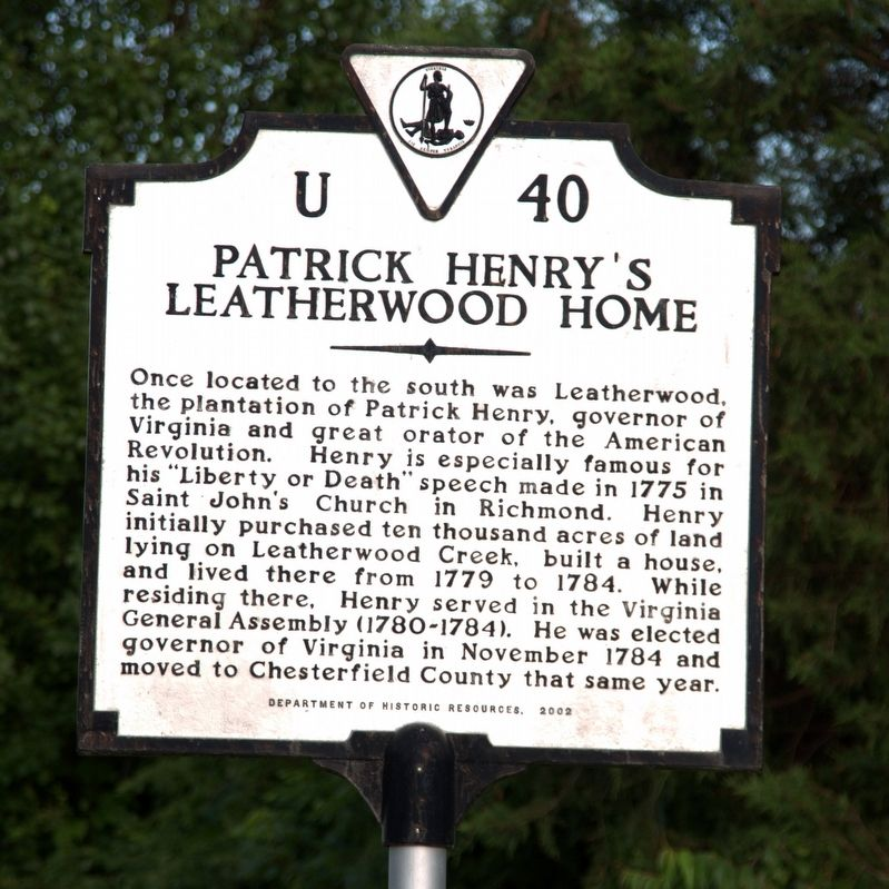 Patrick Henry's Leatherwood Home Marker image. Click for full size.