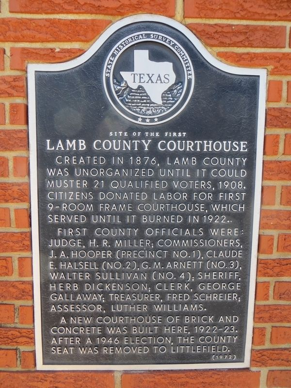 Site of the First Lamb County Courthouse Marker image. Click for full size.