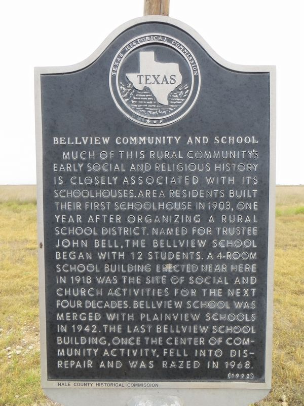 Bellview Community and School Marker image. Click for full size.