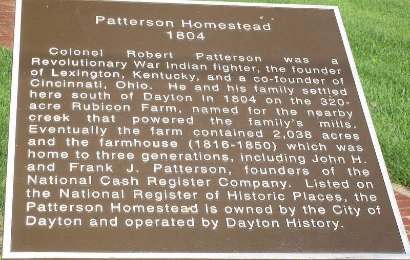 Patterson Homestead 1804 Marker image. Click for full size.