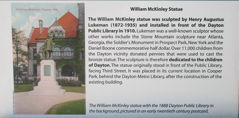 To the Memory of William McKinley Marker image. Click for full size.